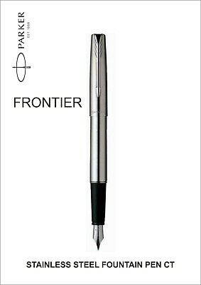Parker Frontier Stainless Steel Chrome Trim CT Fountain Pen Black Fountain Ink