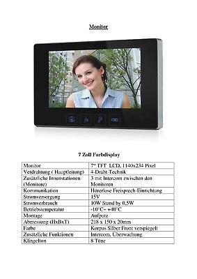 """Zweifamilien Video Türsprechanlage Gegensprechanlage Unterputz mit 2 Monitore7"""" 5"""
