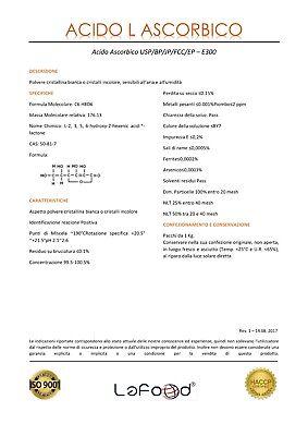 Acido Ascorbico Puro - Vitamina C - 1Kg - E300 - Alimentare -NO OGM- GLUTEN FREE 4