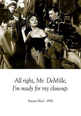 Sunset Blvd 1950 American Old Film Noir Quote Poster Holden Gillis Star Lady