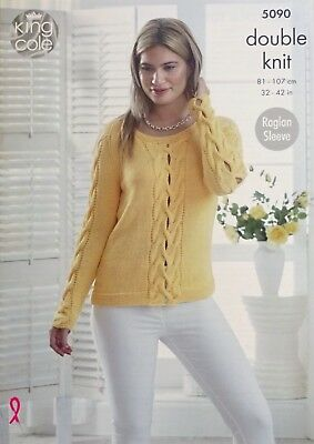 KNITTING PATTERN Ladies Long Sleeve Lace Front Jumper /& Cardigan Bamboo DK 4170