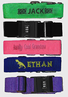 Personalised Embroidered Luggage Strap, Combination Lock with Password, bag, Tag 2