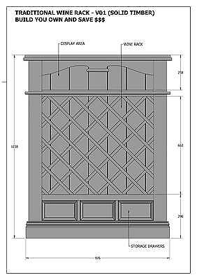 SOLID TIMBER WINE RACK + DRAWERS - Make Your Own & SAVE $ - Full Plans 2d & 3D 3
