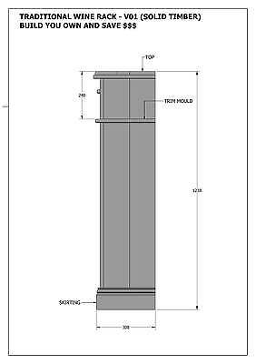 SOLID TIMBER WINE RACK + DRAWERS - Make Your Own & SAVE $ - Full Plans 2d & 3D 4