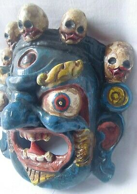 Multicolor wooden demon face mask wood devil head statue hand painted home decor 3