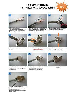 24 Stück Keystone Jack SLIM Modul geschirmt Netzwerk Buchse RJ45 Cat.6A 7