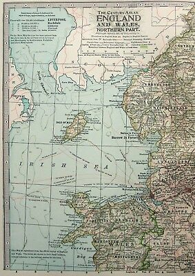Original 1902 Map of Northern England & Wales by The Century Comapny. Antique 2