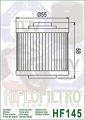 Ölfilter Hiflo HF145 Yamaha XT500, XV535, XT550, XZ550, SRX 600, TT600, XT600 2