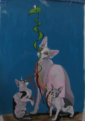 "C77    Original Acrylic Painting By Ljh       ""Pinkie""   Sphynx  Cat 6"