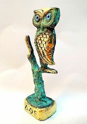 Ancient Greek Bronze Museum Replica Of Owl Symbol Of Athena Goddess Of Wisdom
