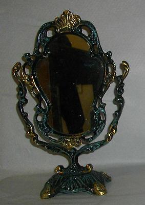 Espejo De Tocador, De Bronce  Y Policromado, 30X19 Ctms- Peso Aprox 1.000Gr 2