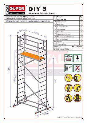 Super DIY 5.2M (3 in ONE) - Aluminium Scaffold Tower, 1m Frames, One Man Tower 2