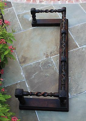 Antique English Oak Barley Twist Fireplace Fender Hearth Surround