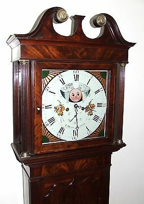 Antique Mahogany Halifax Moon Longcase Grandfather Clock by Thomas DEAN of LEIGH 3