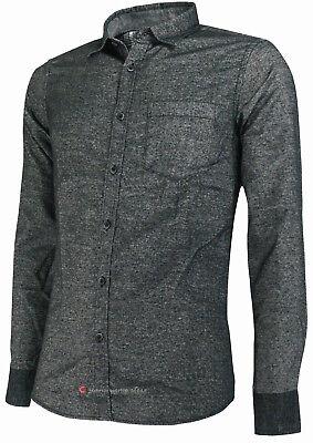 Camicia in flanella uomo manica lunga Slim Fit taschino blu nero tg S M L XL XXL 4