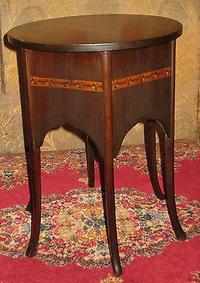 Vintage Mahogany Plant Stand Lamp Table Display Stool Round Top 6-Panel Sides 2