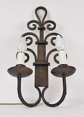 Vintage Art Deco Nouveau Wrought Iron Scroll Wall Sconce Light Fixture 3