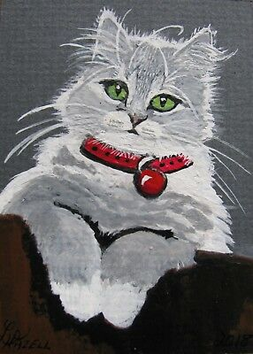 """A834        Original Acrylic Aceo Painting By Ljh  """"Frankie""""  Cat  Kitten 6"""