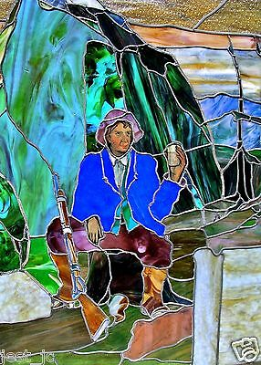 Unique Antique Stain Glass Panel Rip Van Winkle 46.25 x 40.25 inches, ca 1920's 8