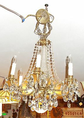 Spectacular Antique  Brass 6 Embossed Arm Chandelier 10