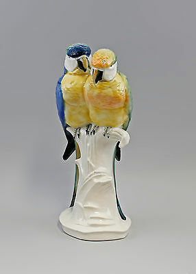 Große Porzellan Figur Ara Gruppe Papageien-Paar H37cm 9941827