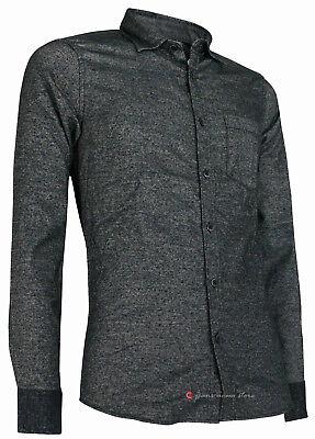 Camicia in flanella uomo manica lunga Slim Fit taschino blu nero tg S M L XL XXL 3