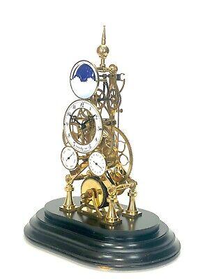 24K Vienna Style Pinwheel Moon Dial Calendar 8 Day Fusee Chain Skeleton Clock 3