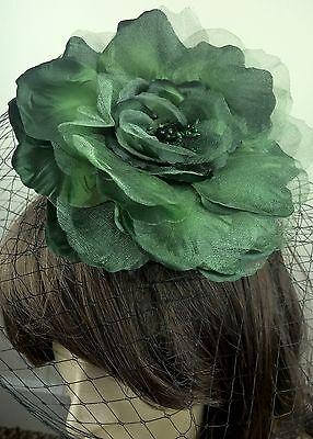 green satin flower black veiling fascinator hair clip ascot wedding bridal 2