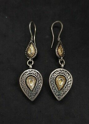 Wonderful Silver And Gold Gilded Unique Design Rare Beautiful Earring #O12 2