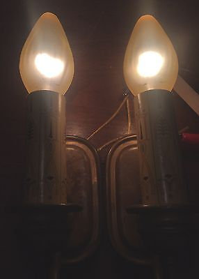 Brass Sconces Vintage Antique Wired Matched Pair 4