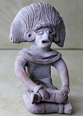 Vintage Art Pottery Pre-Columbian Male Sitting Figurine Statue Clay Old 12