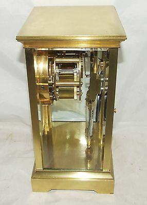 Antique French Four Glass Brass Striking Bracket Mantel Clock CLEANED & SERVICED 6