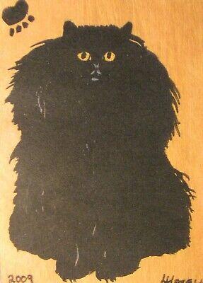 "C439        Original Acrylic Painting By Ljh    ""Vader""    Black Cat 8"