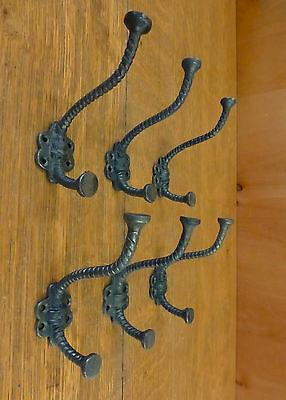 "6 Natural Iron Color Elephant 4.5"" Coat Hanging Hooks Decorative Antique Style"