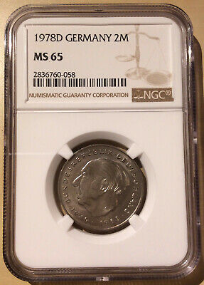 1978 D GERMANY 2 MARKS NGC MS 65 - Copper-Nickel Clad Nickel - Top Pop!!! 3
