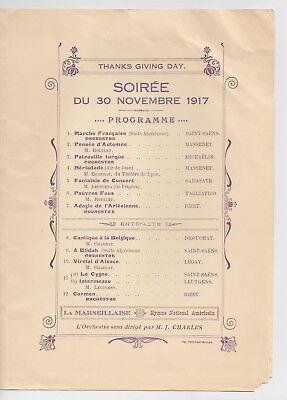 1917 WWI Era Patriotic Concert Program France Litho Cover Soiree Thanksgiving 3
