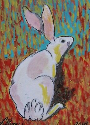 "A869    Original Acrylic Aceo Painting By Ljh    ""Pete Rabbit""  One-Of A-Kind 2"