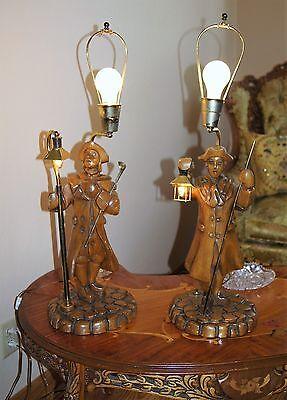 """2 Vtg Art Deco Era Wooden Table Lamps Chandeliers Fixtures   """" Light Keepers"""" 4"""