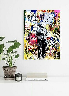 Banksy Einstein Love Is Answer - Deep Framed Canvas Wall Art Graffiti Print- 2