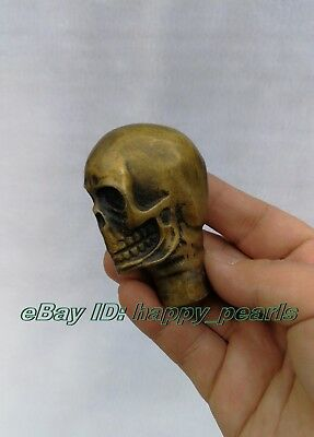 Victorian Walking Stick handle with Bronze skull Head Walking Stick handle wand 5