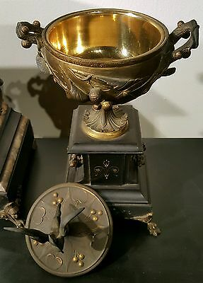 Antique J E Caldwell French Mantel Clock Set w/ Urns Marble Bronze 19th C EXLNT! 8