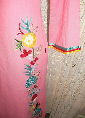 Pink Vintage Indian Tunic top.calf length,side splits, embroidered ruffle detail 7