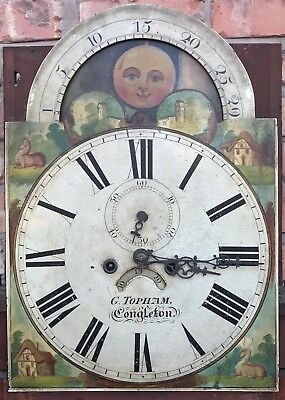Antique Mahogany Rolling Moon Longcase Grandfather Clock G TOPHAM Congleton 7