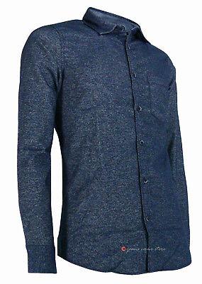 Camicia in flanella uomo manica lunga Slim Fit taschino blu nero tg S M L XL XXL 6