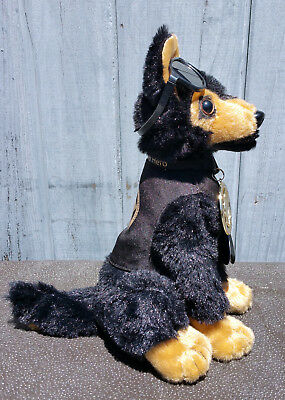 Black Tan German Shepherd Plush Police Dog w K9 Badge Mirrored Aviators charity 4