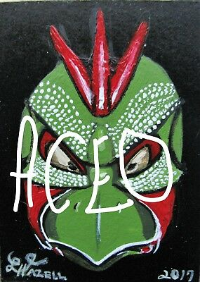 """A872  NEW -    ORIGINAL ACRYLIC ACEO PAINTING BY LJH    """"MASK""""  One-Of-A-Kind 9"""