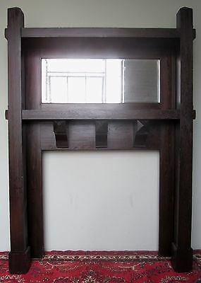 Antique Rare Mission Oak Arts & Crafts Mantle In Fumed Original Finish 2