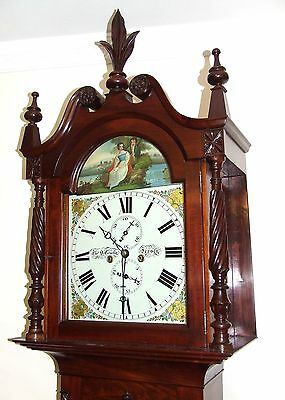 * Antique Inlaid Mahogany Longcase Grandfather Clock THOMAS DE GRUCHY JERSEY 3