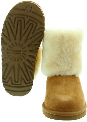 UGG Australia Ellee Boots KIds Chestnut Buckle Detail New UK 1 Eur 32 3