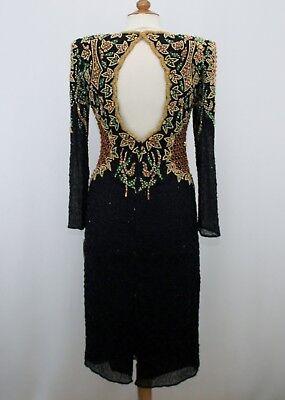Jasdee Vintage Dress Long Sleeve Bead & Sequins Hand Work On Silk Style 6010 2